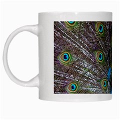 Peacock Feather Beat Rad Blue White Mugs