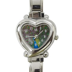 Peacock Feather Beat Rad Blue Heart Italian Charm Watch