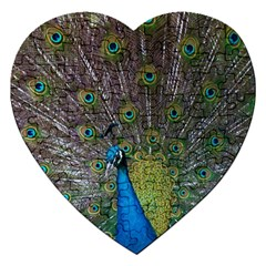 Peacock Feather Beat Rad Blue Jigsaw Puzzle (heart)
