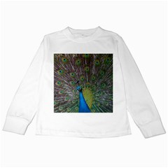 Peacock Feather Beat Rad Blue Kids Long Sleeve T Shirts