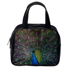 Peacock Feather Beat Rad Blue Classic Handbags (one Side)
