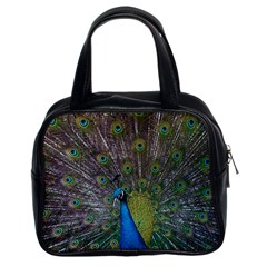 Peacock Feather Beat Rad Blue Classic Handbags (2 Sides)