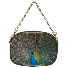 Peacock Feather Beat Rad Blue Chain Purses (one Side)
