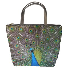 Peacock Feather Beat Rad Blue Bucket Bags