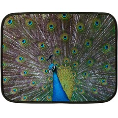 Peacock Feather Beat Rad Blue Fleece Blanket (mini)