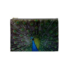 Peacock Feather Beat Rad Blue Cosmetic Bag (medium)