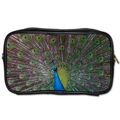 Peacock Feather Beat Rad Blue Toiletries Bags 2 Side
