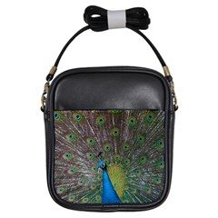 Peacock Feather Beat Rad Blue Girls Sling Bags