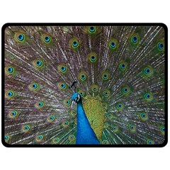 Peacock Feather Beat Rad Blue Fleece Blanket (large)