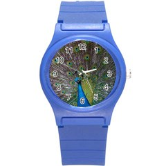 Peacock Feather Beat Rad Blue Round Plastic Sport Watch (s)