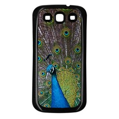 Peacock Feather Beat Rad Blue Samsung Galaxy S3 Back Case (black)