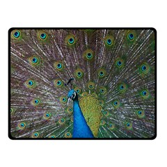 Peacock Feather Beat Rad Blue Double Sided Fleece Blanket (small)