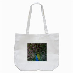 Peacock Feather Beat Rad Blue Tote Bag (white)