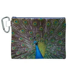 Peacock Feather Beat Rad Blue Canvas Cosmetic Bag (xl)