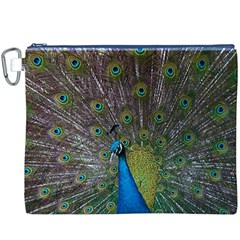 Peacock Feather Beat Rad Blue Canvas Cosmetic Bag (xxxl)