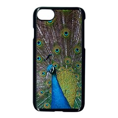 Peacock Feather Beat Rad Blue Apple Iphone 7 Seamless Case (black)