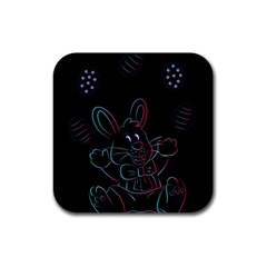 Easter Bunny Hare Rabbit Animal Rubber Coaster (square)