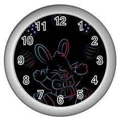 Easter Bunny Hare Rabbit Animal Wall Clocks (Silver)