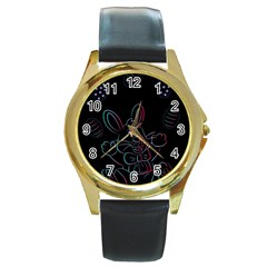 Easter Bunny Hare Rabbit Animal Round Gold Metal Watch