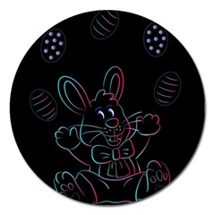 Easter Bunny Hare Rabbit Animal Magnet 5  (round)