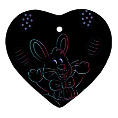 Easter Bunny Hare Rabbit Animal Heart Ornament (two Sides)