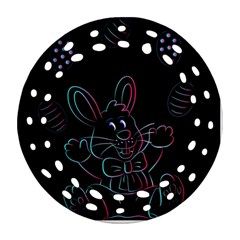 Easter Bunny Hare Rabbit Animal Round Filigree Ornament (Two Sides)