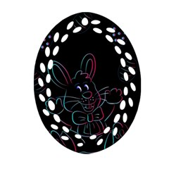 Easter Bunny Hare Rabbit Animal Oval Filigree Ornament (two Sides)