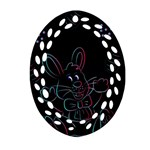 Easter Bunny Hare Rabbit Animal Oval Filigree Ornament (Two Sides) Front