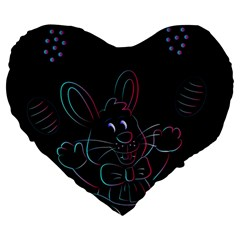 Easter Bunny Hare Rabbit Animal Large 19  Premium Heart Shape Cushions