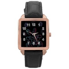 Easter Bunny Hare Rabbit Animal Rose Gold Leather Watch