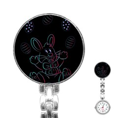Easter Bunny Hare Rabbit Animal Stainless Steel Nurses Watch