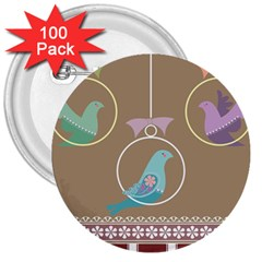 Isolated Wallpaper Bird Sweet Fowl 3  Buttons (100 Pack)
