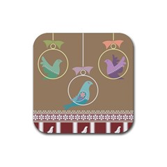 Isolated Wallpaper Bird Sweet Fowl Rubber Square Coaster (4 Pack)