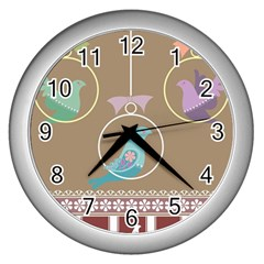 Isolated Wallpaper Bird Sweet Fowl Wall Clocks (silver)