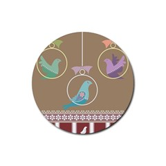 Isolated Wallpaper Bird Sweet Fowl Rubber Coaster (round)