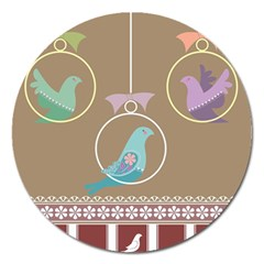 Isolated Wallpaper Bird Sweet Fowl Magnet 5  (round)