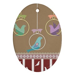 Isolated Wallpaper Bird Sweet Fowl Oval Ornament (two Sides)