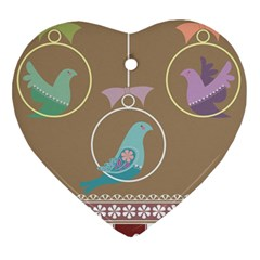 Isolated Wallpaper Bird Sweet Fowl Heart Ornament (two Sides)