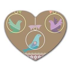 Isolated Wallpaper Bird Sweet Fowl Heart Mousepads