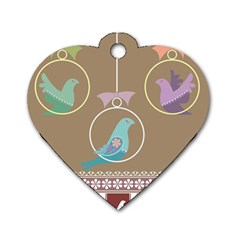 Isolated Wallpaper Bird Sweet Fowl Dog Tag Heart (one Side)