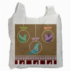Isolated Wallpaper Bird Sweet Fowl Recycle Bag (two Side)