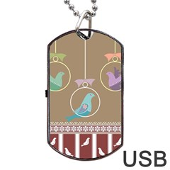 Isolated Wallpaper Bird Sweet Fowl Dog Tag Usb Flash (two Sides)