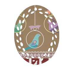 Isolated Wallpaper Bird Sweet Fowl Oval Filigree Ornament (two Sides)
