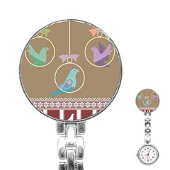 Isolated Wallpaper Bird Sweet Fowl Stainless Steel Nurses Watch