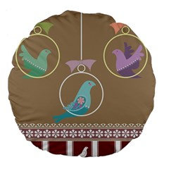 Isolated Wallpaper Bird Sweet Fowl Large 18  Premium Flano Round Cushions