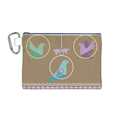 Isolated Wallpaper Bird Sweet Fowl Canvas Cosmetic Bag (m)