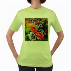 Flowers Artwork Art Digital Art Women s Green T Shirt
