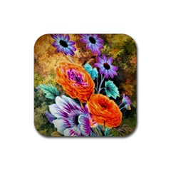 Flowers Artwork Art Digital Art Rubber Square Coaster (4 Pack)