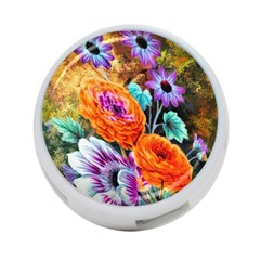 Flowers Artwork Art Digital Art 4 Port Usb Hub (one Side)