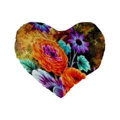 Flowers Artwork Art Digital Art Standard 16  Premium Heart Shape Cushions